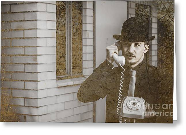 Male Vintage Detective On Old Phone Greeting Card by Jorgo Photography - Wall Art Gallery