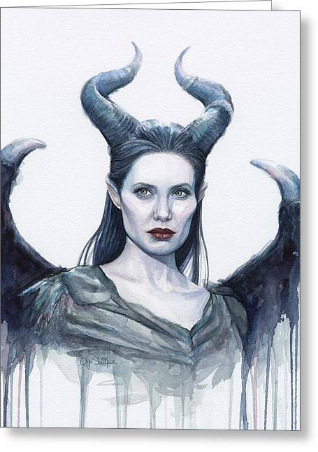 Drip Paintings Greeting Cards - Maleficent Watercolor Portrait Greeting Card by Olga Shvartsur