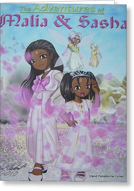 Malia And Sasha Greeting Card by Artists With Autism Inc