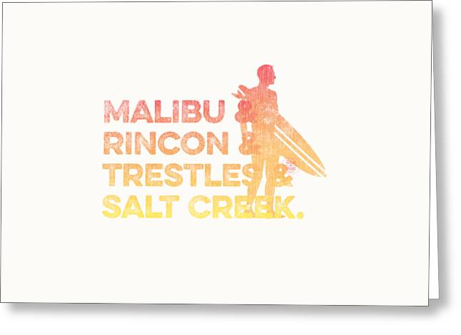 Malibu And Rincon And Trestles And Salt Creek 2 Greeting Card by SoCal Brand