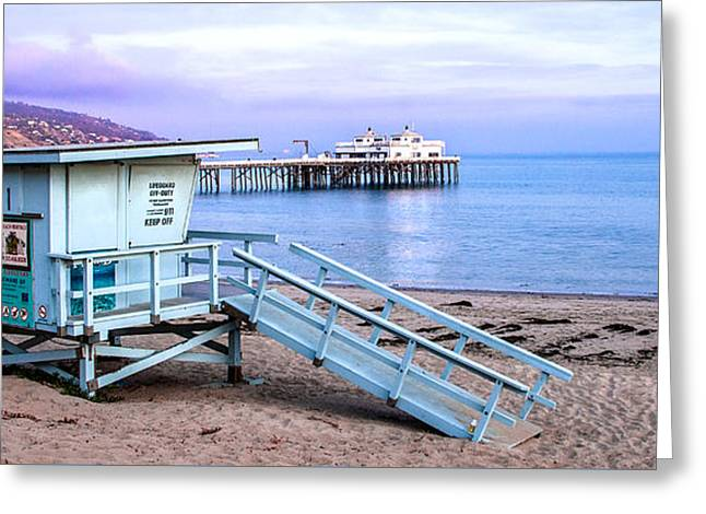 Pacific Ocean Prints Greeting Cards - Malibu Beach Lifeguard Tower And Pier  Greeting Card by Jerry Cowart