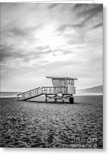 Shack Greeting Cards - Malibu Lifeguard Tower #2 Black and White Photo Greeting Card by Paul Velgos