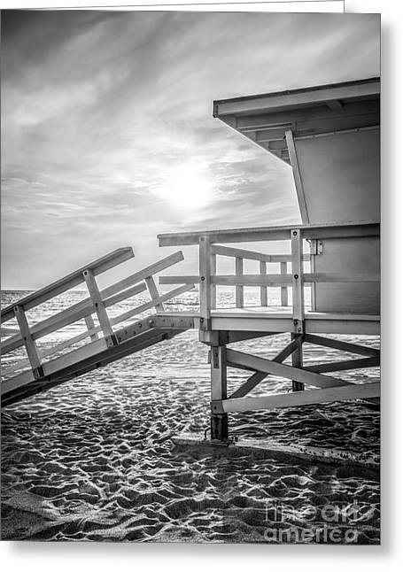 Malibu Lifeguard Tower #3 Black And White Photo Greeting Card by Paul Velgos