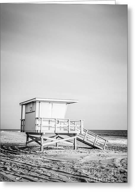 1970s Greeting Cards - Malibu Lifeguard Tower #3 in Zuma Beach Greeting Card by Paul Velgos