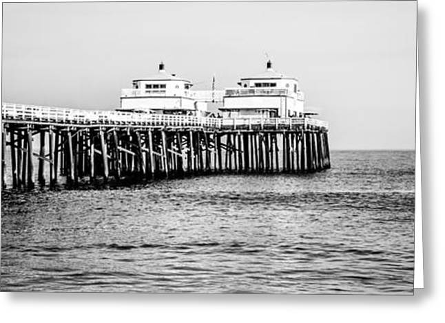 Panoramic Ocean Greeting Cards - Malibu Pier Black and White Panorama Picture Greeting Card by Paul Velgos