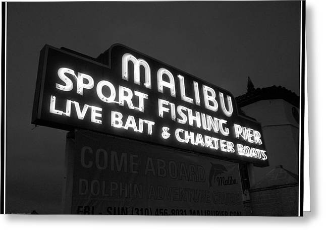 Malibu Pier Sign In BW Greeting Card by Glenn McCarthy Art and Photography
