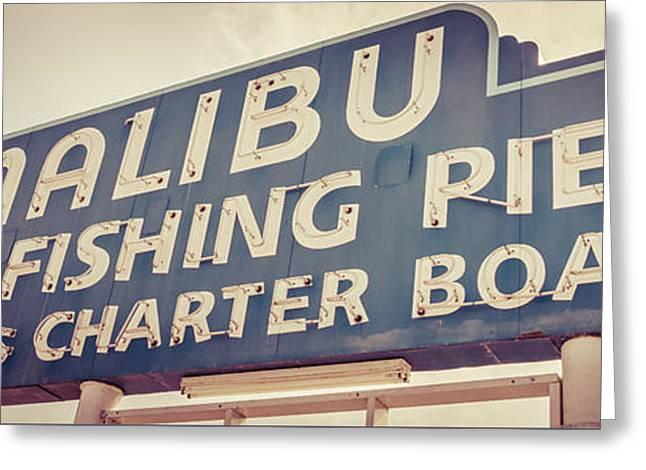 1970s Greeting Cards - Malibu Pier Sign Retro Panorama Photo Greeting Card by Paul Velgos