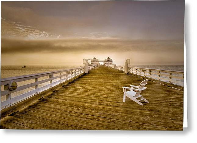 Foggy. Mist Greeting Cards - Malibu Pier Sunrise Foggy Morning Greeting Card by Connie Cooper-Edwards