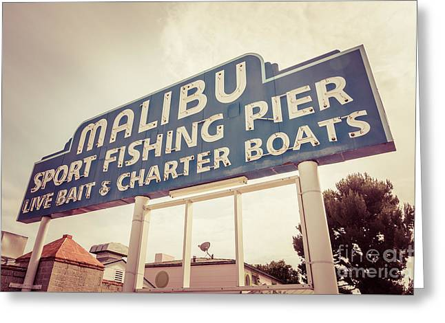 1970s Greeting Cards - Malibu Sign Sport Fishing Pier Picture Greeting Card by Paul Velgos