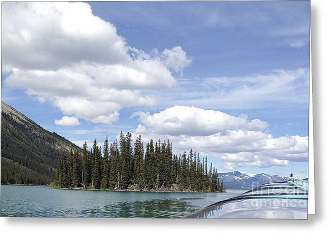 Greeting Cards - Maligne Lake Boat Greeting Card by Ivy Ho