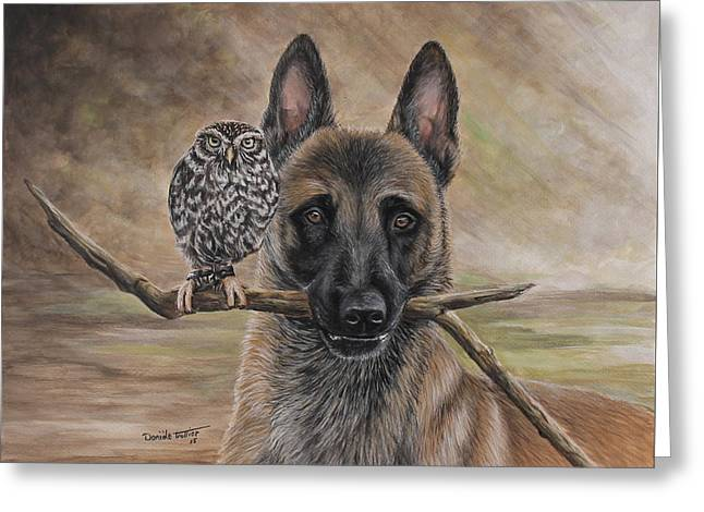 Dog Artists Greeting Cards - Malinois and friend Greeting Card by Daniele Trottier