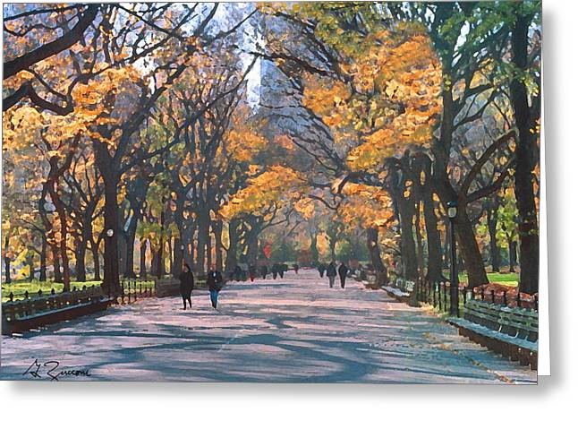 Park Benches Paintings Greeting Cards - Mall Central Park New York City Greeting Card by George Zucconi