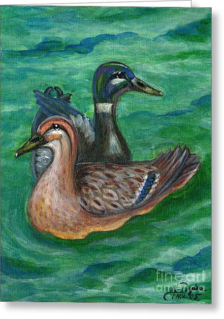 Polscy Malarze Greeting Cards - Mallard Ducks Greeting Card by Anna Folkartanna Maciejewska-Dyba