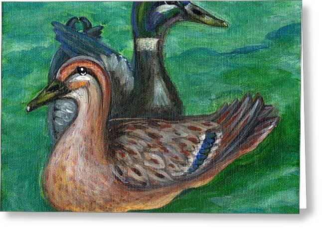Mallard Ducks Greeting Card by Anna Folkartanna Maciejewska-Dyba
