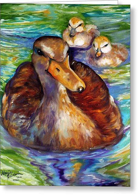 Quack Greeting Cards - MALLARD MOM and DUCKLINGS Greeting Card by Marcia Baldwin