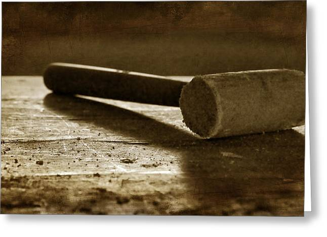 Hardware Greeting Cards - Mallet - Wooden Hammer Greeting Card by Nikolyn McDonald