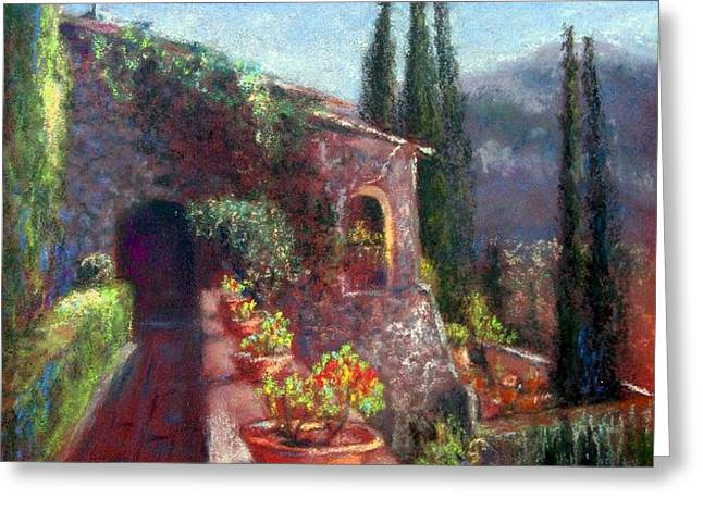 Mallorcan Monastery Greeting Card by Shirley Leswick