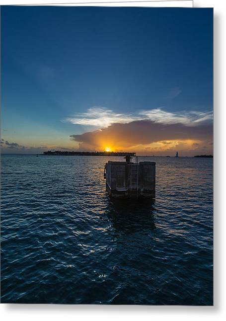 Docked Sailboat Greeting Cards - Mallory Square Sundown Greeting Card by Dan Vidal