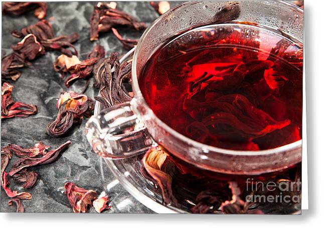 Beverage Greeting Cards - Mallow tea in glass with dried mallow blossoms Greeting Card by Wolfgang Steiner