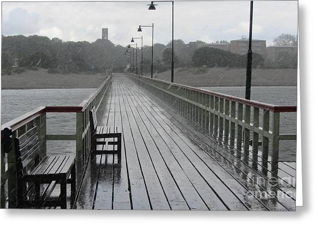 Wooden Platform Greeting Cards - Malmo Pier in the Rain Greeting Card by Jackie Tweddle