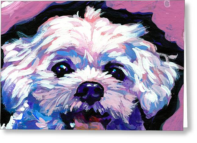 Maltese Dogs Greeting Cards - Malted Smiley Face Greeting Card by Lea