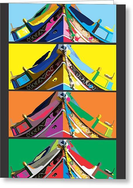 Maltese Mixed Media Greeting Cards - Maltese Boat Pop Art Greeting Card by Alfie Borg