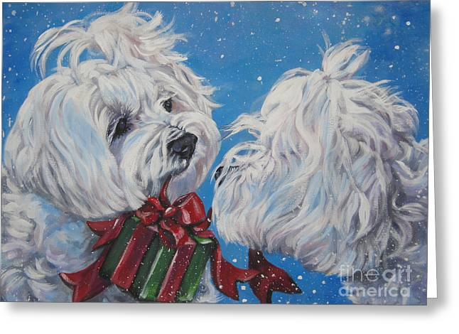 White Maltese Greeting Cards - Maltese Christmas Greeting Card by LA Shepard
