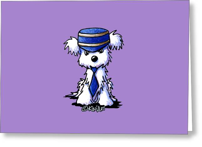 Maltese Conductor Greeting Card by Kim Niles