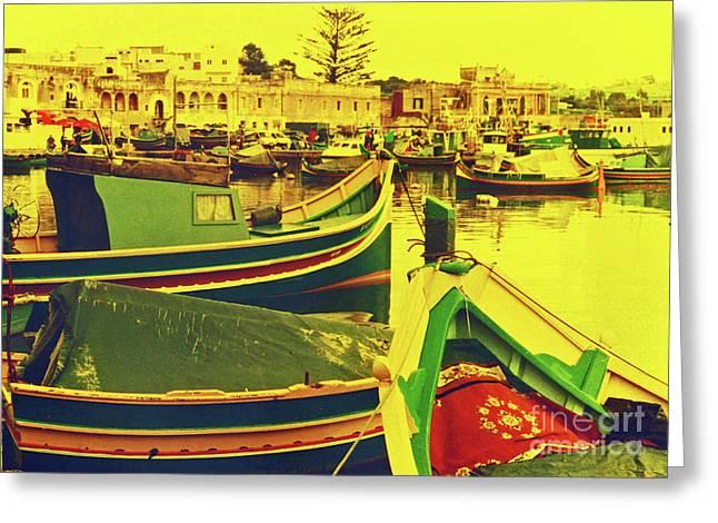 Maltese Fishing Village Greeting Card by Elizabeth Hoskinson