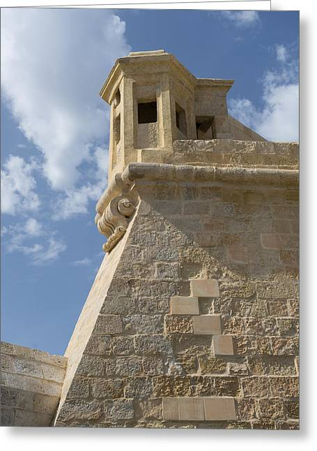 Maltese Knights Legacy - Fort St Elmo Bastion Watch Tower Greeting Card by Georgia Mizuleva