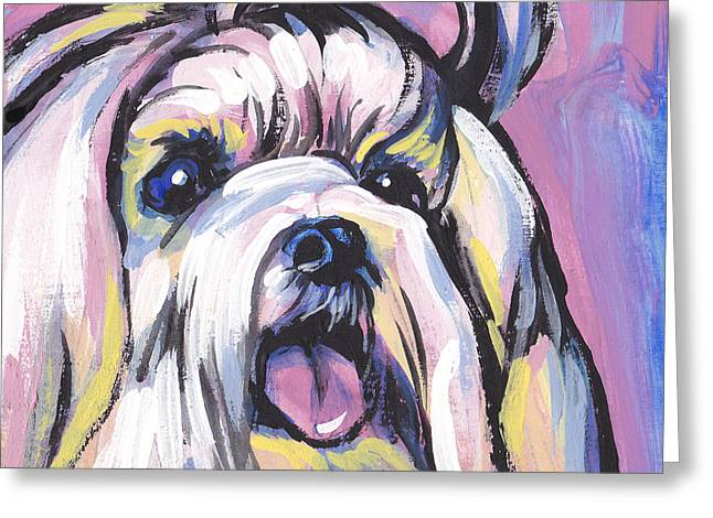 Maltese Dog Greeting Cards - Malti mania Greeting Card by Lea