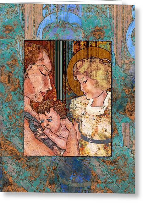 Guardian Angel Digital Greeting Cards - Mama and Baby and Angel Greeting Card by Mary Ogle