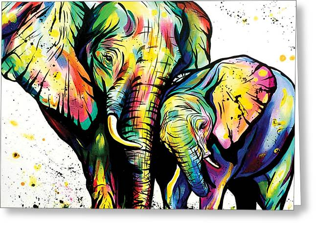 Mama And Baby Elephant Greeting Card by Abbi Kay
