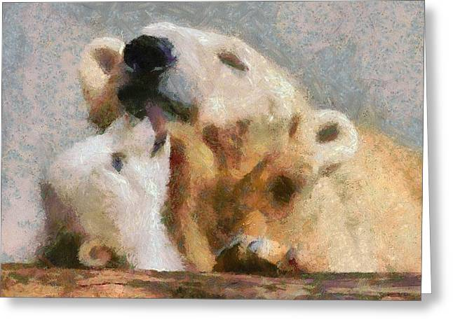 Love The Animal Greeting Cards - Mama Bear And Cub Greeting Card by Catherine Lott
