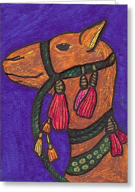 Llama Drawings Greeting Cards - Mama Llama Greeting Card by Laurie Silva