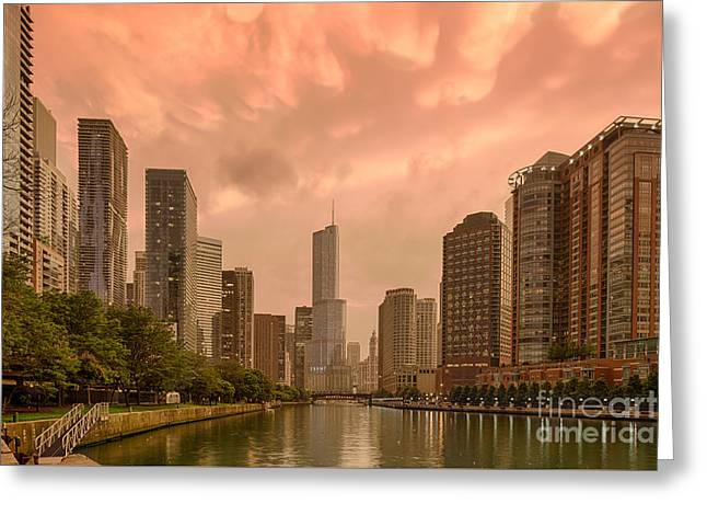 Boat Cruise Greeting Cards - Mammatus Cloud Action Over Chicago River - Chicago Illinois Greeting Card by Silvio Ligutti