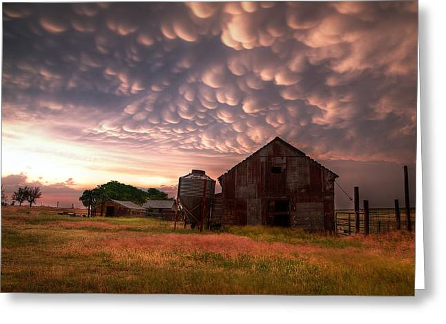 Ominous Greeting Cards - Mammatus Kansas Greeting Card by Thomas Zimmerman