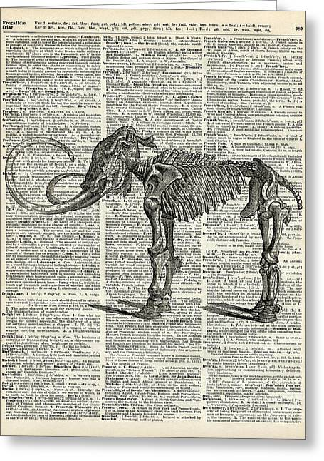 Transparent Mixed Media Greeting Cards - Mammoth Elephant Bones over a Antique Dictionary Book page Greeting Card by Jacob Kuch