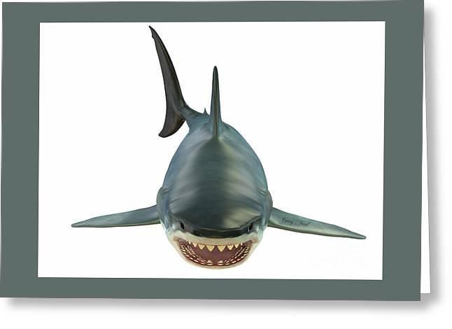 Mammoth Great White Shark Greeting Card by Corey Ford