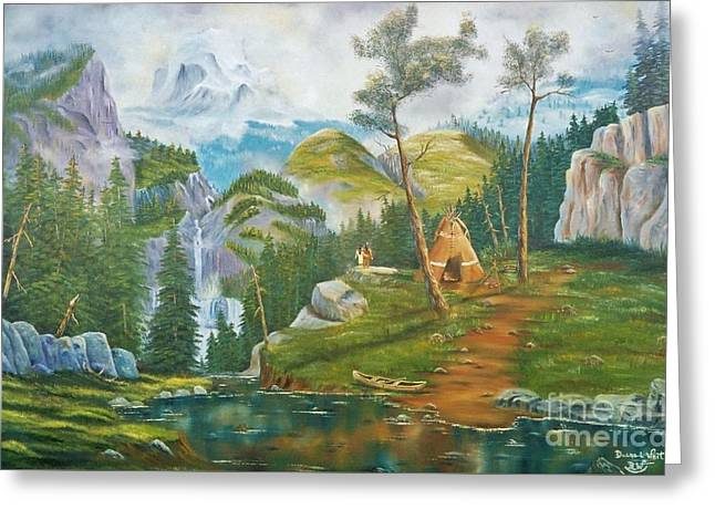 Canoe Waterfall Paintings Greeting Cards - Mammoth Mountains Honeymoon Blessings Greeting Card by Duane West