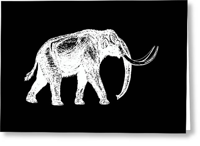 Mammoth White Ink Tee Greeting Card by Edward Fielding