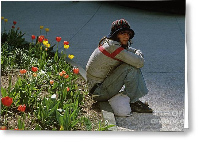 Man Alone Sitting On Curb Greeting Card by Jim Corwin