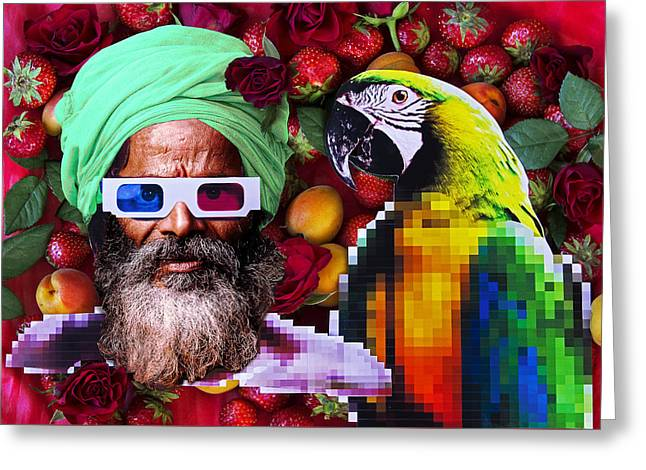 Lions Greeting Cards - Man and a parrot in a fruit salad Greeting Card by Nikolay Devnenski