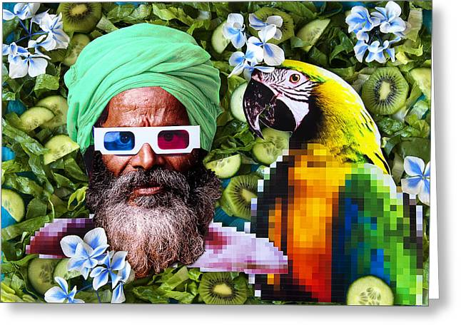 Lions Greeting Cards - Man and a parrot in a green salad Greeting Card by Nikolay Devnenski