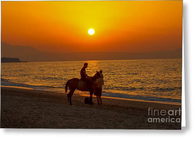 Sea Horse Greeting Cards - Man And Horse With Sunset In Crete Island Greeting Card by Fineart Photographs