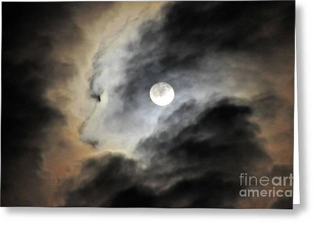 Man And Moon Greeting Card by Cindy Lee Longhini