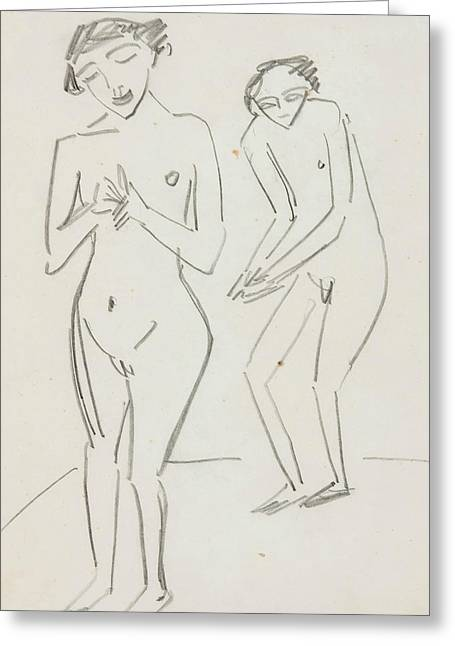 Man And Woman Greeting Card by Ernst Ludwig Kirchner