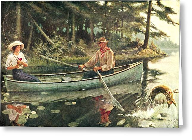 River Boat Greeting Cards - Man and Woman Fishing Greeting Card by JQ Licensing