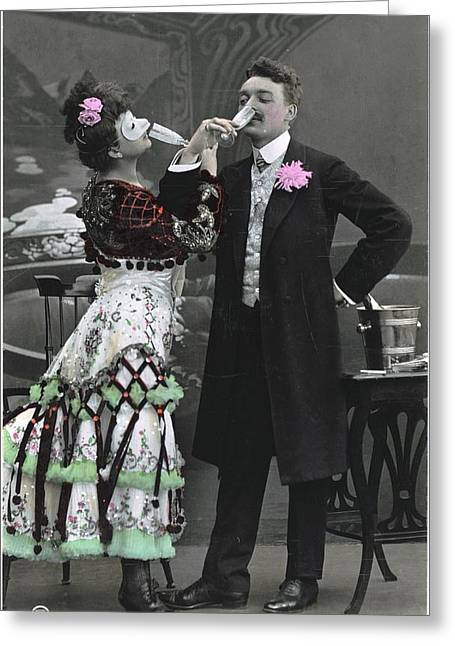People On Ice Greeting Cards - Man And Woman In Vintage Party Clothes Greeting Card by Gillham Studios
