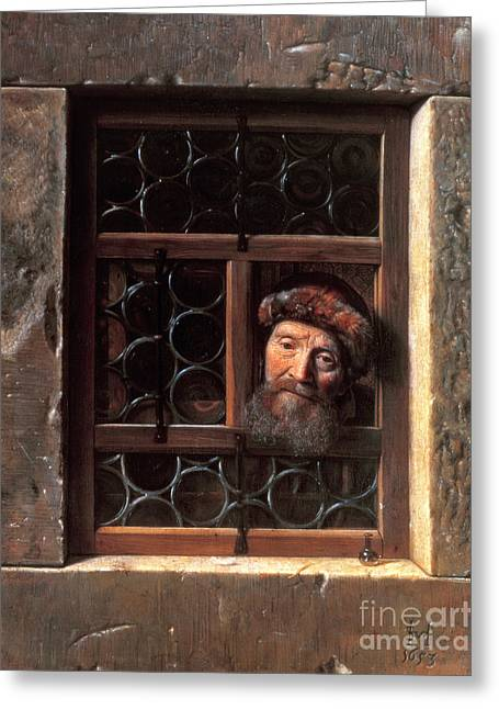 Man At A Window Greeting Card by Samuel van Hoogstraten
